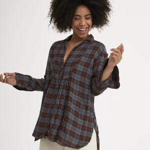 NWT Free People Plaid Shirt